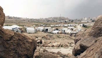 Tents and makeshift shelters at an IDP camp in Yemen. Years of conflict has left millions at crisis levels of hunger, with some facing starvation due to COVID. — courtesy UNICEF/Alessio Romenzi