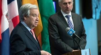 File photo shows Secretary-General António Guterres briefs reporters at UN Headquarters last February. Alongside him is UN Spokesperson, Stéphane Dujarric. — courtesy UN Photo/Evan Schneider
