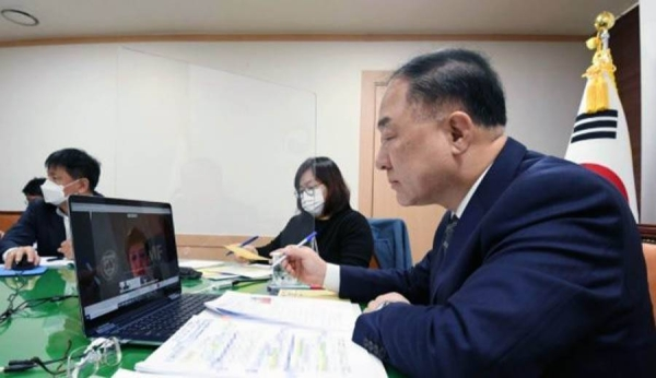 Finance Minister Hong Nam-ki during the virtual meeting with IMF Director Kristalina Georgieva. — courtesy Ministry of Economy and Finance