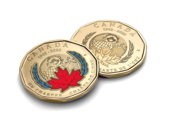The Royal Canadian Mint's colored Loonie marking the 75th anniversary of the signing of the UN Charter