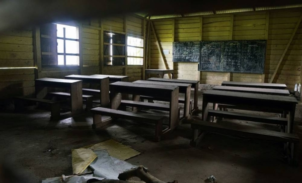 File photo shows an abandoned classroom in a primary school in southwestern Cameroon. The government-funded French school closed after receiving direct threats from armed groups. — courtesy OCHA/Giles Clarke