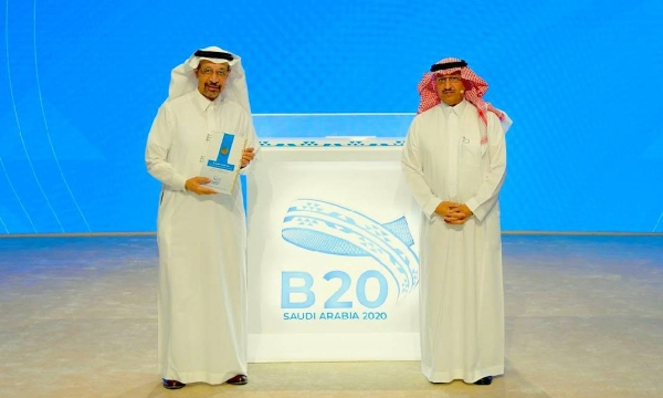Minister of Investment Eng. Khalid Bin Abdulaziz Al-Falih, left, who received the final communiqué of B20 Summit on behalf of the Custodian of the Two Holy Mosques King Salman, stressed that most of the B20 priorities are similar to the current transformations in the Kingdom of Saudi Arabia.