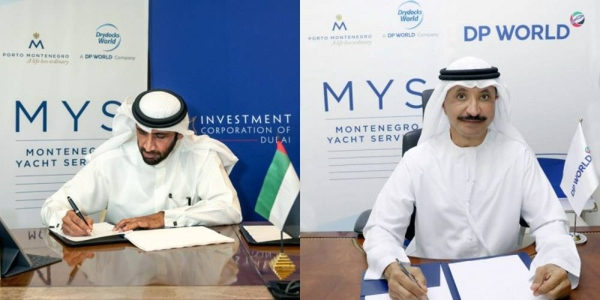 Adriatic Marinas Chairman Mohammed I. Al Shaibani, left, and Sultan Ahmed Bin Sulayem, group chairman and CEO of DP World, during the signing ceremony.