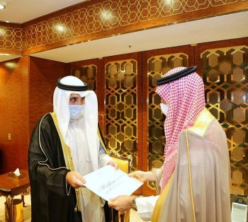 The letter was handed to Saudi Foreign Minister Prince Faisal Bin Farhan by his Kuwaiti counterpart Sheikh Ahmad Nasser Al-Mohammed Al-Sabah during their meeting in Riyadh. — SPA