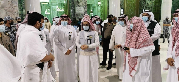 The Grand Mosque on Wednesday received the first batch of Umrah pilgrims from outside Saudi Arabia as part of the third phase of gradual resumption of Umrah pilgrimage and visits to the Holy Mosques. — SPA photos