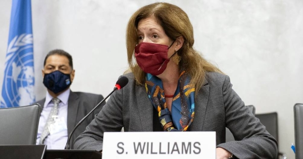 Acting Special Representative of the Secretary-General Stephanie Williams hosts the fourth round of the 5 5 Libyan Joint Military Commission, Palais des Nations on Oct. 19, 2020. — courtesy UN Photo/Violaine Martin