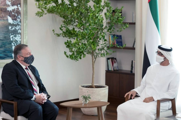 Sheikh Mohamed Bin Zayed Al Nahyan Crown Prince of Abu Dhabi Deputy Supreme Commander of the UAE Armed Forces (R), meets with Michael R. Pompeo, Secretary of State of the United States of America (L), at Al Shati Palace.