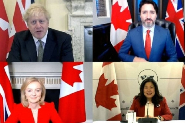 Prime Ministers Boris Johnson and Justin Trudeau, Trade Secretary Truss and Minister Ng announcing the trade deal.