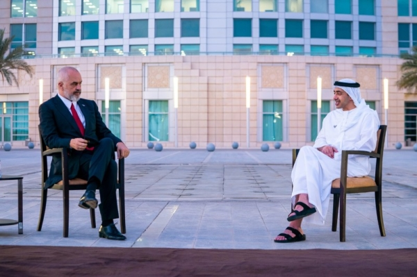 Foreign Minister of the United Arab Emirates Sheikh Abdullah bin Zayed Al Nahyan reviewed prospects of advancing cooperation with Albanian Prime Minister Edi Rama. — WAM photo