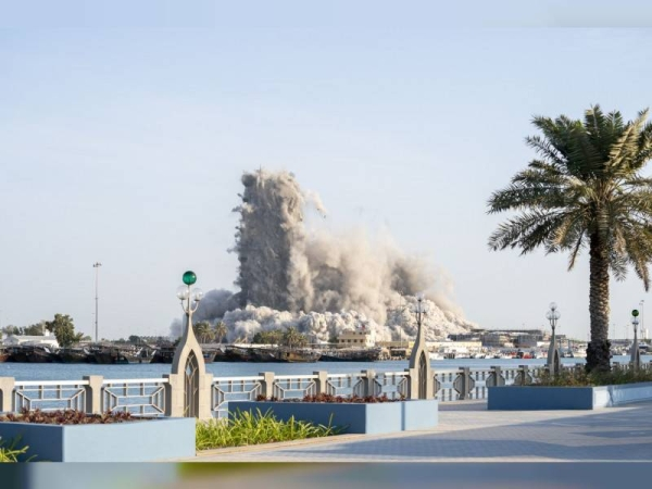 Modon Properties (Modon) announced on Friday the successful demolition of Mina Plaza towers in the Mina Zayed area, Abu Dhabi, setting a new Guinness World Records title for the tallest building demolished using explosives. — WAM photo