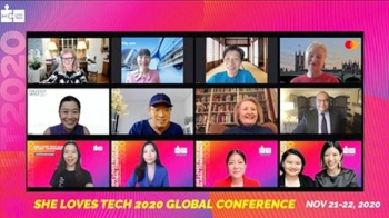 She Loves Tech Co-Founders with Speakers: Arianna Huffington, Jane Sun, Kathy Matsui, Ann Cairns, Jacqueline Poh, Chng Kai Fong, Melanne Verveer, Mahmoud Mohieldin, Rhea See, Selina Wang, Maria Li, Virginia Tan, Leanne Robers.
