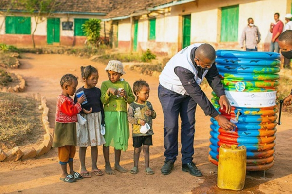 The UAE-driven humanitarian initiative; 20by2020, recently installed 'Safe Water Cube' fountains across five rural areas of Madagascar. — courtesy AETOSWire