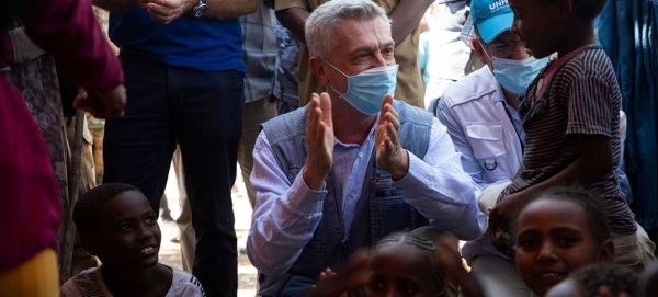 UN High Commissioner for Refugees, Filippo Grande meets refugees from Ethiopia in the Hamdayet Border Reception Center in Eastern Sudan. — Courtesy photo