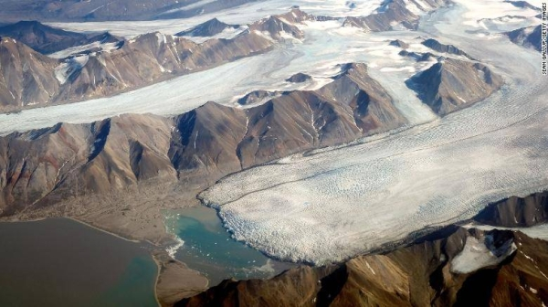 Melting glaciers are seen from a plane during a summer heat wave on Svalbard archipelago in Norway. — Courtesy photo