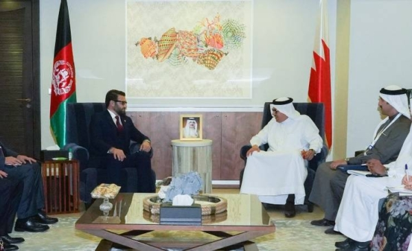 Bahrain's Foreign Minister Dr. Abdullatif bin Rashid Al-Zayani met on Friday with Afghanistan's National Security Adviser Dr. Hamdullah Mohib on the sidelines of the Manama Dialogue.