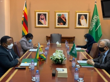 Ambassador Abdullah Al-Muallami, Saudi Arabia's permanent representative to the United Nations, and Frederick Makamure Shava, representative of the Republic of Zimbabwe to the UN, signed an agreement to establish diplomatic relations in a ceremony held in New York on Thursday. — SPA photo