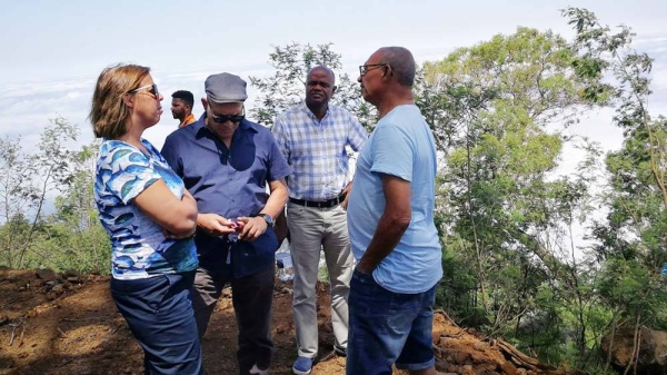 UN Resident Coordinator in Cape Verde, Ana Patricia Graça (left) discusses a reforestation project with local participants. — courtesy UN Cape Verde