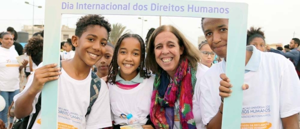 File photo shows Ana Patricia Graça (2nd from right), UN Resident Coordinator in Cape Verde meets young activists on Human Rights Day. — courtesy UN Cape Verde