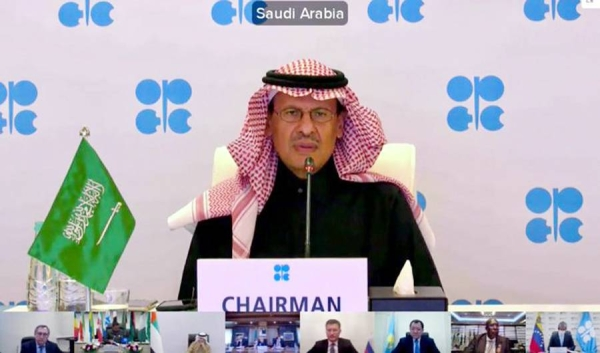 Energy Minister Prince Abdulaziz Bin Salman, chairman of the OPEC and non-OPEC Ministerial Meeting, seen chairing the meeting on Monday. The groupin arrived at a deal in the reconvened meeting on Tuesday.