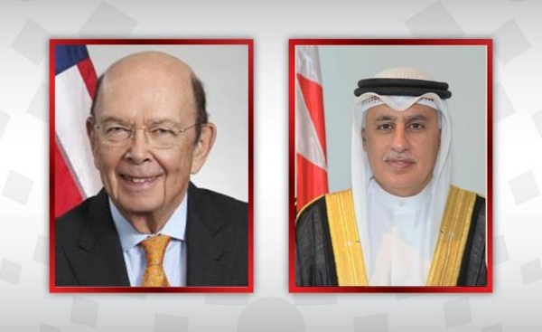 Bahrain's Industry, Commerce, and Tourism Minister Zayed Al-Zayani, right, sealed the deal this morning with US Secretary for Trade Wilbur Ross.