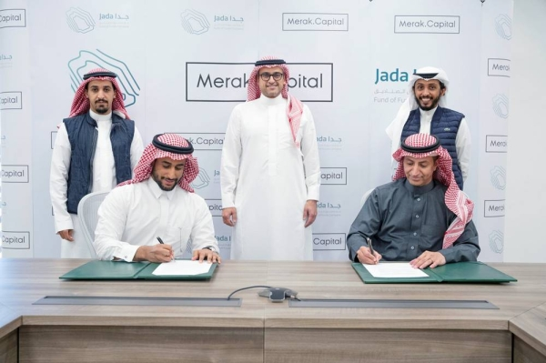 Adel Al Ateeq, CEO of Jada, and Merak Capital CEO Abdullah Altamami, during the agreement that will focus on the growth and scaling of small to medium enterprises (SMEs) and startups operating in the fields of the digital economy and infrastructure, financial technologies (FinTech) and emerging fourth industrial revolution (4IR) technologies.