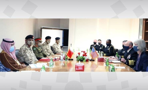 Commander-in-Chief of the Bahrain Defense Force (BDF) Field Marshal Shaikh Khalifa bin Ahmed Al Khalifa met on Thursday with the US Chief of Naval Operations Admiral Mike Gilday. — BNA photo
