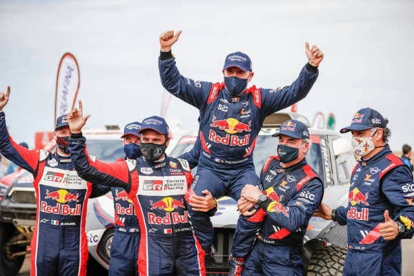 A victorious participant in the  2021 Dakar Rally.