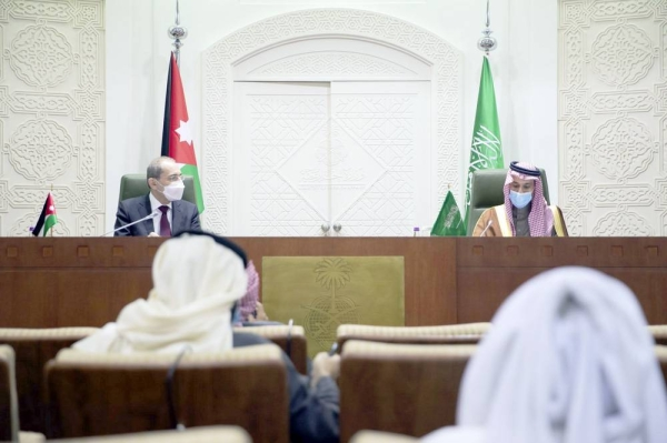 Saudi Arabia's Foreign Minister Prince Faisal Bin Farhan and his Jordanian counterpart Ayman Al-Safadi at a joint press conference following their meeting in Riyadh.