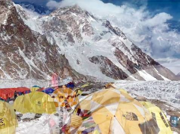 K2 with the mountaineers base camp. A team of 10 Nepali climbers reached the 28,251-foot summit of K2, the world's second-highest mountain, on Saturday adding a stunning new chapter to mountaineering history.