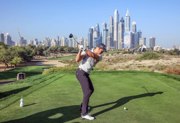 Henrik Stenson of Sweden plays a shot from the eighth tee during the pro-am as a preview for the Omega Dubai Desert Classic on the Majlis Course at The Emirates Golf Club on Jan. 22, 2020 in Dubai, United Arab Emirates. (Photo by David Cannon)