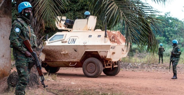 MINUSCA peacekeepers on patrol in Bangassou, Central African Republic. — courtesy MINUSCA/Leonel Grothe