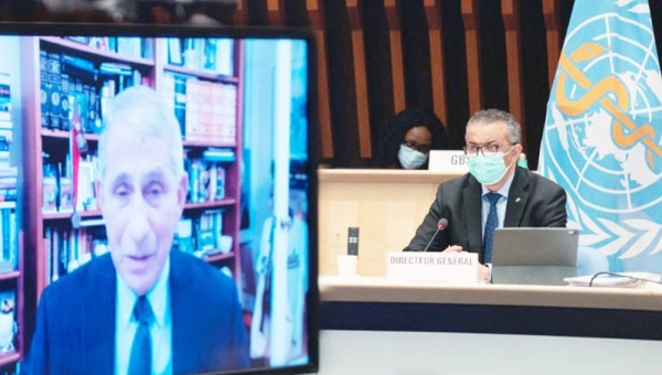 Dr. Anthony Fauci (on screen) and Dr. Tedros Adhanom Ghebreyesus at the WHO Executive Board Meeting. — courtesy WHO