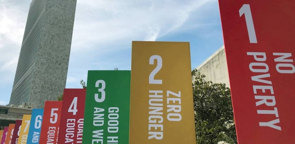 Sustainable Development Goals (SDGs) banners outside the United Nations Headquarters in New York. Sept, 20, 2019. — courtesy UN News/Conor Lennon