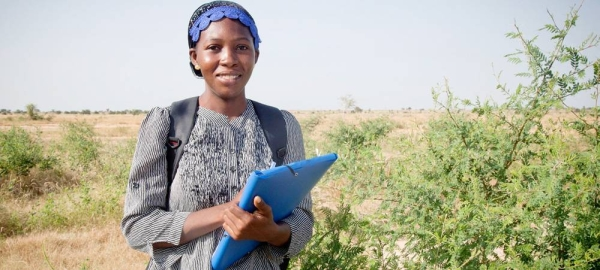 Barkissa Fofana, a young microbiologist from Burkina Faso, is confident that science can help combat climate change and desertification. — courtesy FAO/Gideon Vink