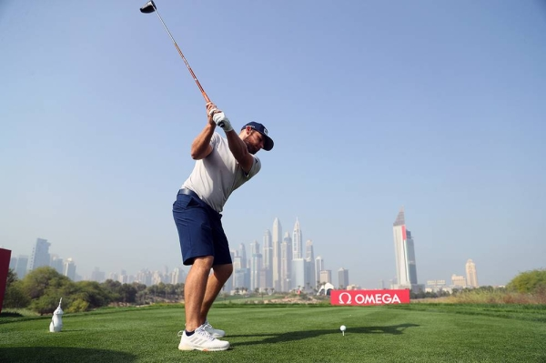 Tyrrell Hatton of England tees off on the eighth hole during the pro am ahead of the Omega Dubai Desert Classic at Emirates Golf Club on Tuesday in Dubai, United Arab Emirates. (Photo by Warren Little)