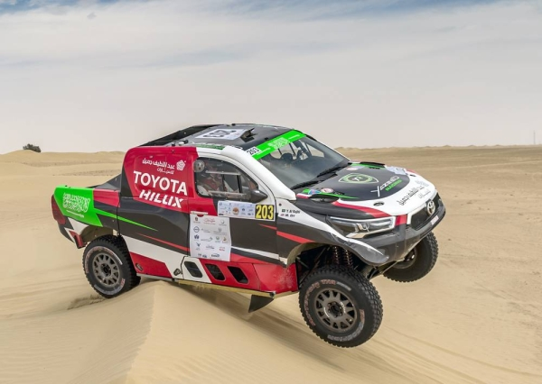 Yazeed Al Rajhi and Michael Orr in their Toyota Hilux Overdrive