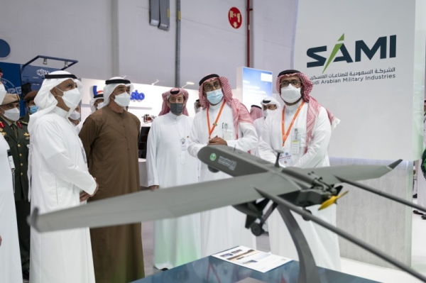 Crown Prince of Abu Dhabi Sheikh Mohamed bin Zayed Al-Nahyan visited Saudi Arabia's pavilion at the International Defense Exhibition (IDEX) 2021 on Tuesday. — WAM photo