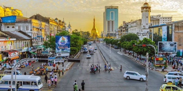File photo shows a street leading to the Sule Pagoda in downtown Yangon, Myanmar. — courtesy Unsplash/Alexander Schimmeck