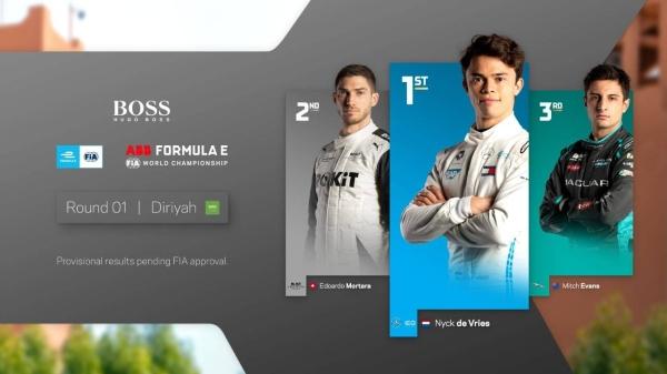 Mercedes' De Vries wins Forumla E's first night race in Diriyah