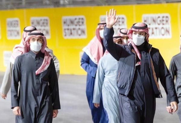 Crown Prince Muhammad Bin Salman, deputy prime minister and minister of defense, and Minister of Sports Prince Abdulaziz Bin Turki Al-Faisal at the Diriyah Formula E Race 2021 on Saturday.