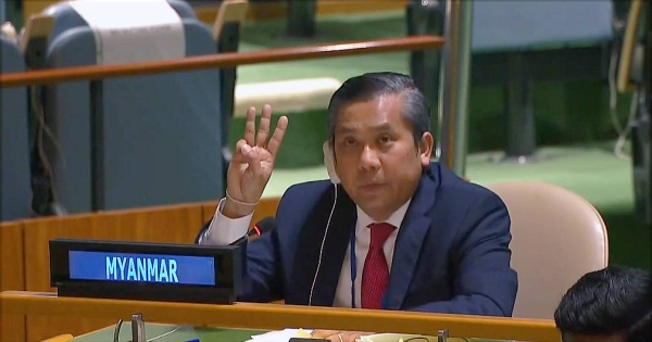 Permanent Representative of Myanmar to the UN, Ambassador Kyaw Moe Tun ended his General Assembly address on Friday denouncing the Feb. 1 coup, with a three-fingered salute used by protesters. — courtesy UN WebTV