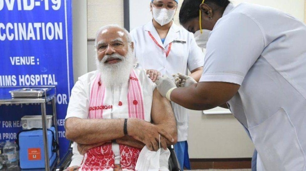 Prime Minister Narendra Modi took the jab at a Delhi government hospital becoming the first beneficiary of the vaccination drive's second phase. — Courtesy photo