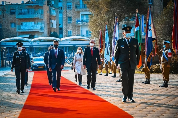 Mohamed Mahmoud Al Khaja, the first ambassador of the United Arab Emirates to Israel presented his credentials to Israeli Reuven Rivlin on Monday. — WAM photos