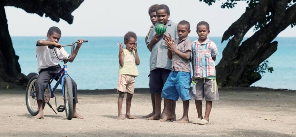 Children play on the beach in Epi island, Vanuatu, an archipelago in the western Pacific which is home to about 300,000 people. — courtesy UNICEF/Jason Chute