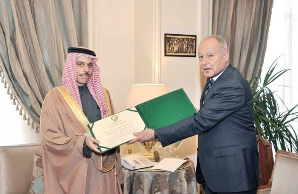 On behalf of Crown Prince Muhammed Bin Salman, deputy prime minister and minister of defense, Minister of Foreign Affairs Prince Faisal Bin Farhan Bin Abdullah received on Wednesday the Arab Development Action Shield for the year 2021 from Arab League Secretary General Ahmed Aboul Gheit.
