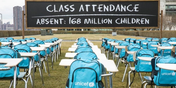 UNICEF's 'Pandemic Classroom' at the UN Headquarters in New York. Each empty desk and chair represents the million children living in countries where schools have been almost entirely closed. — courtesy UNICEF/Chris Farber/UNICEF via Getty Images