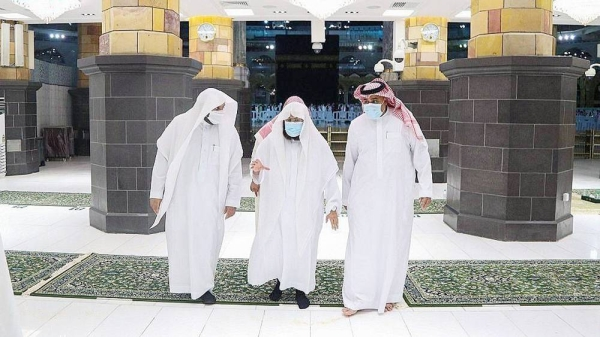 Sheikh Abdul Rahman Al-Sudais, head of the Presidency for the Affairs of Two Holy Mosques, took a field tour Tuesday to the Grand Mosque's call to prayer place, in preparation for the blessed month of Ramadan.