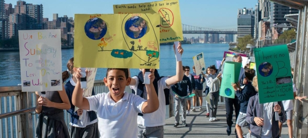 Students of the primary section of the Lycée français de New York (French School) protest climate change in the city's Upper East Side neighborhood in this courtesy file photo.