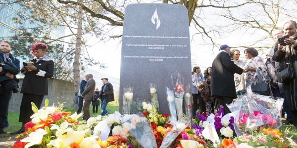 The file photo shows a monument in memory of the 1994 Genocide against the Tutsi in Rwanda being unveiled at the United Nations in Geneva. — courtesy UN Photo/Violaine Martin