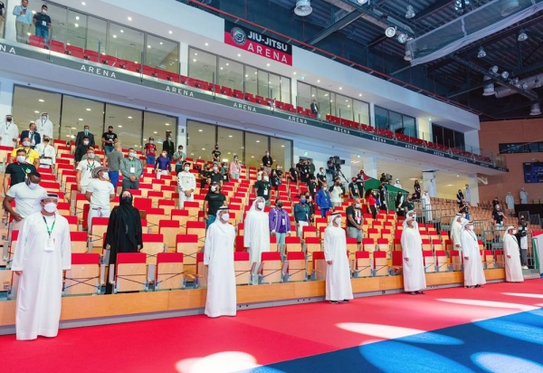 Sheikh Hamdan Bin Mohammed Bin Zayed Al Nahyan arriving to the 12th edition of ADPJJC